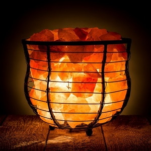 Rock salt cage style lamps