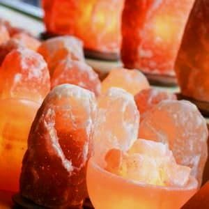 Pink salt crystal lights
